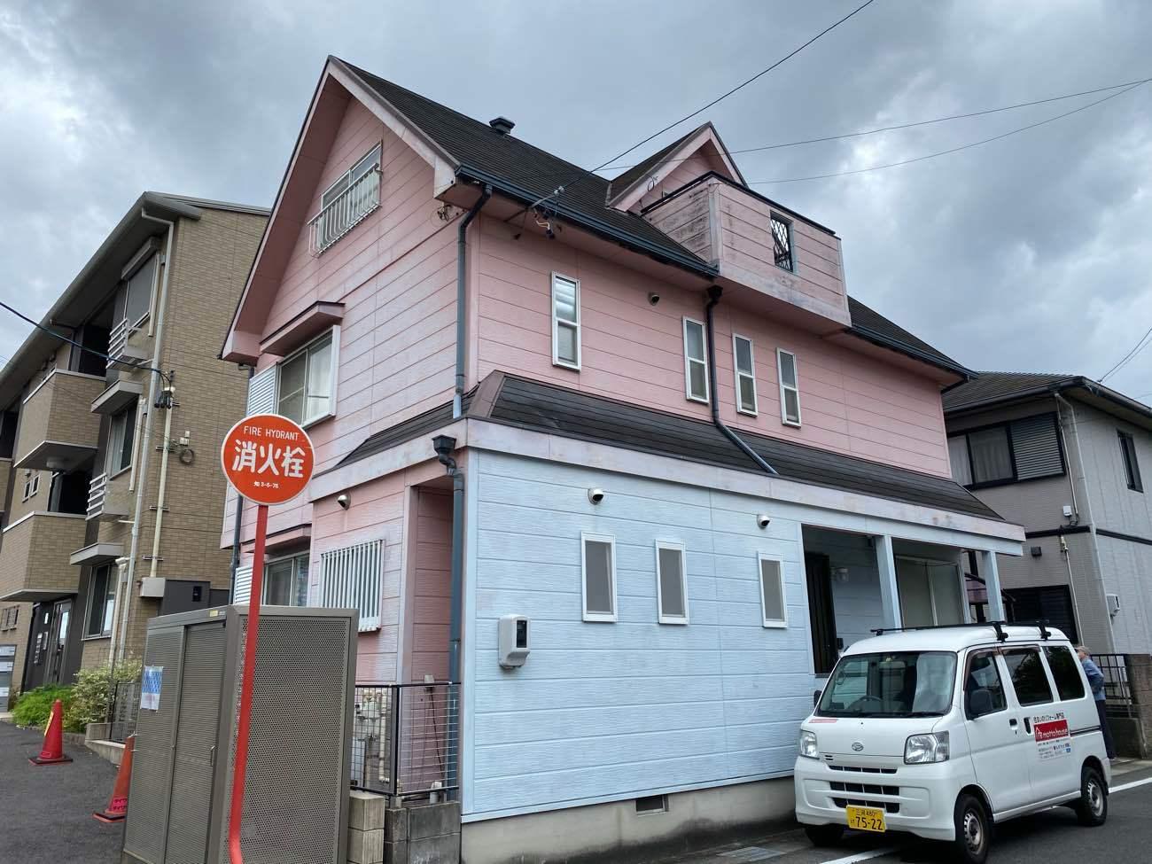 知立市西にて横貼りサイディングとカラーベスト屋根のお宅の現地調査に伺いました